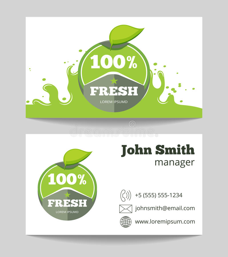 Organic Fresh Natural Food Business Card Stock Vector - Illustration ...