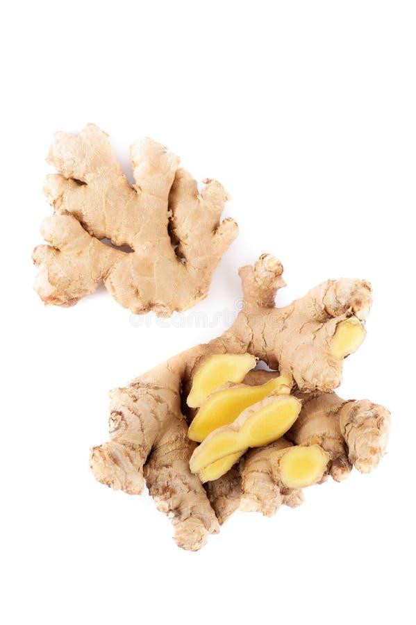 Organic Fresh Raw Ginger On White Background stock photography