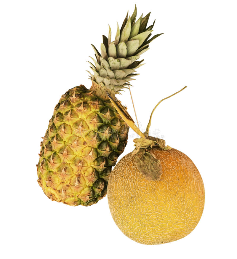Organic fruit pineapple and melon royalty free stock images