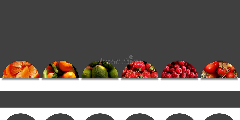 Organic fruits inside six abstract semicircles stock illustration