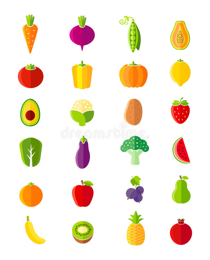 Organic fruits and vegetables flat style icons set vector illustration