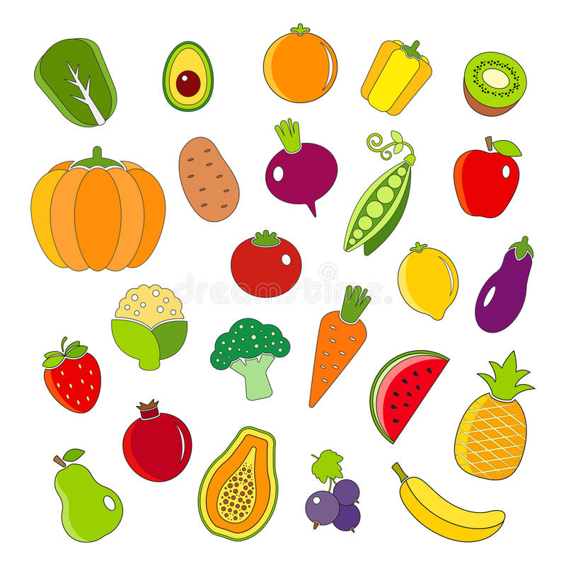 Organic fruits and vegetables outline style icons set stock illustration