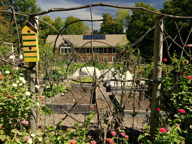 Organic garden: folk art yellow bird house twig fence royalty free stock photos