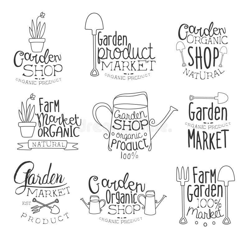 Organic Garden Hand Drawn Banner Set vector illustration