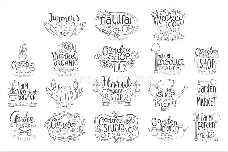 Organic Garden Hand Drawn Banner Set Of Artistic Decorative Vector Design Writing. royalty free illustration