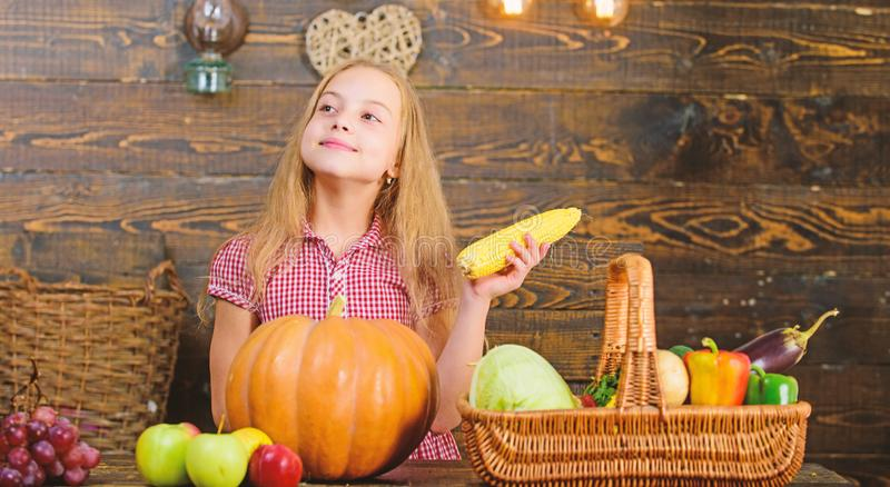 Organic gardening. Kid farmer with harvest wooden background. Harvest festival concept. Girl kid at farm market with. Organic vegetables. Child little girl royalty free stock photo