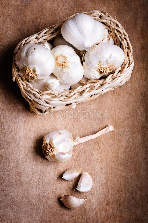 Organic garlic stock images
