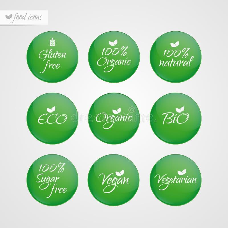 Organic Gluten Sugar free Eco Bio Vegan Vegetarian Eco Bio Natural label. Food logo icons. Vector green and white sticker signs royalty free illustration