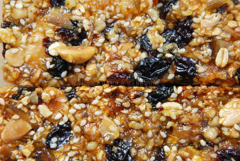 Organic Granola Bar with Nuts and Cereals, Dry fruits. Healthy Diet and Fitness Food Snack royalty free stock photo