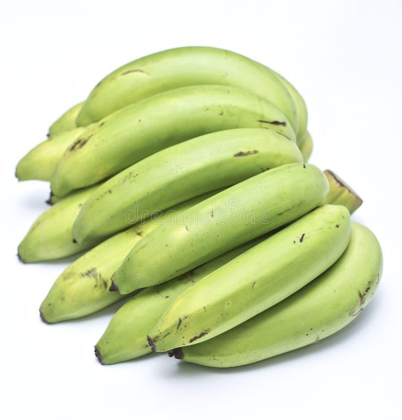 A organic green bananas stock photo
