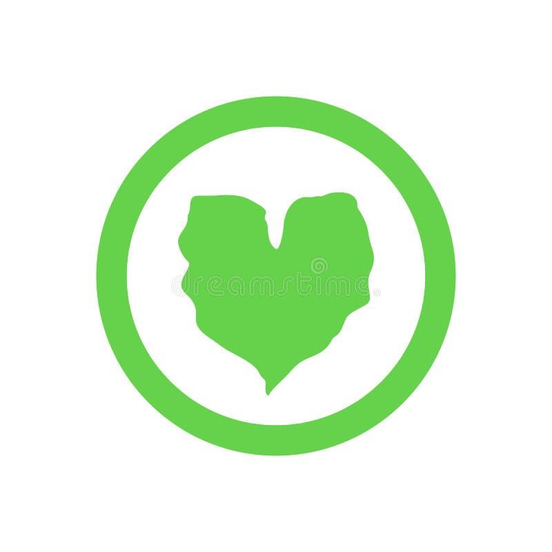 Organic Green Leaf Circle Logo Emblem, Heart Shape Leaf Icon - Vector stock illustration