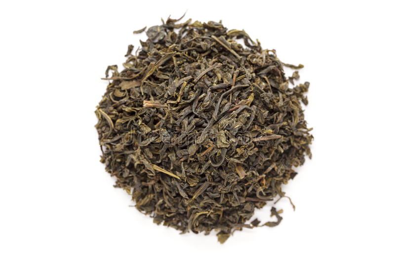 Organic Green Tea (Camellia sinensis) dried long leaves. royalty free stock photos