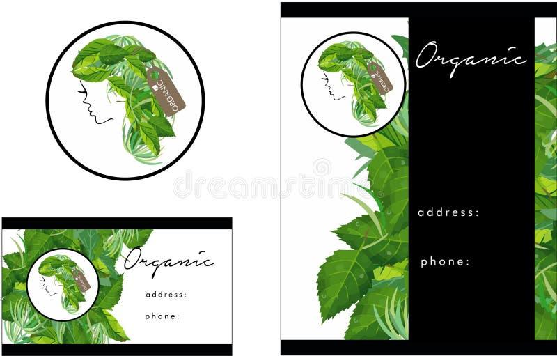 Organic Hair salon modern Logo, Business Card, Flyer royalty free illustration