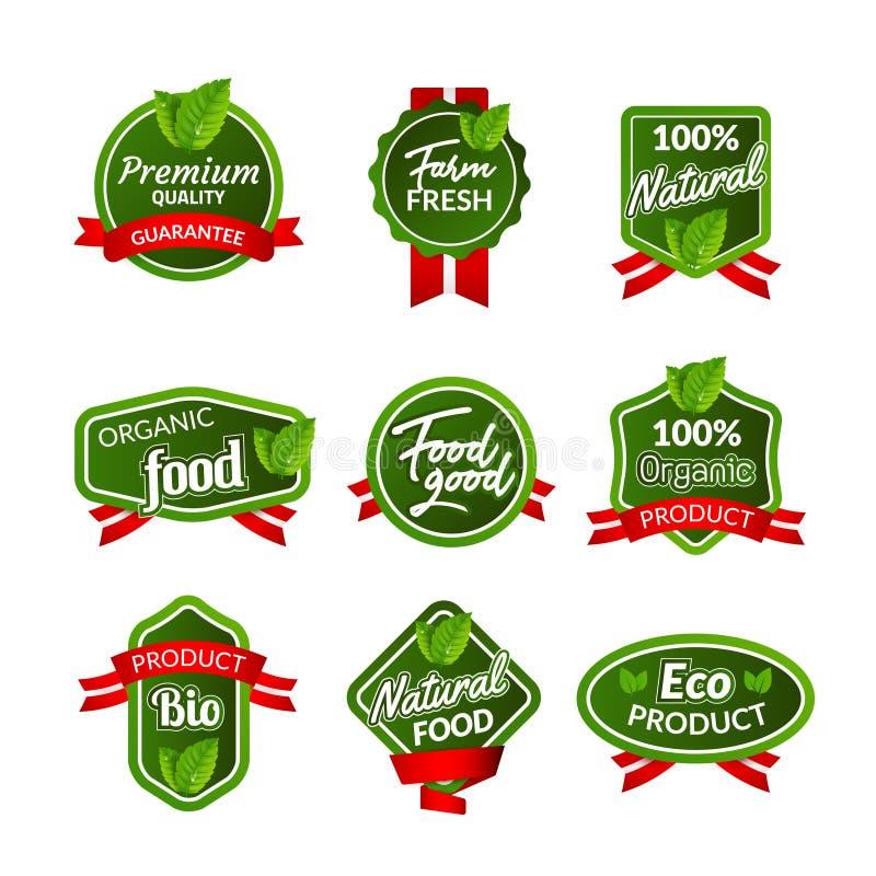 Organic health food badge seal design. Natural organic food sticker set. Farm product market signs in vector.  stock illustration