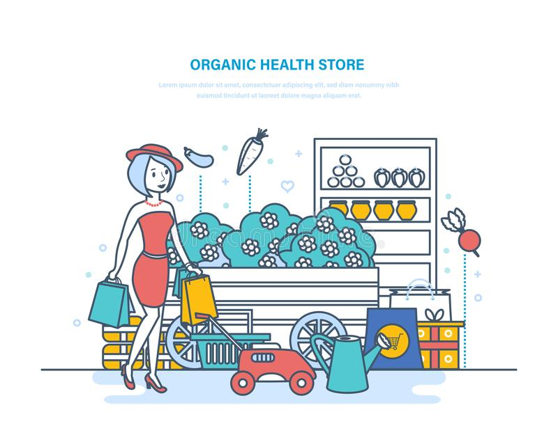 Organic health store. Shopping products, farming, gardening, buying in supermarket. royalty free illustration