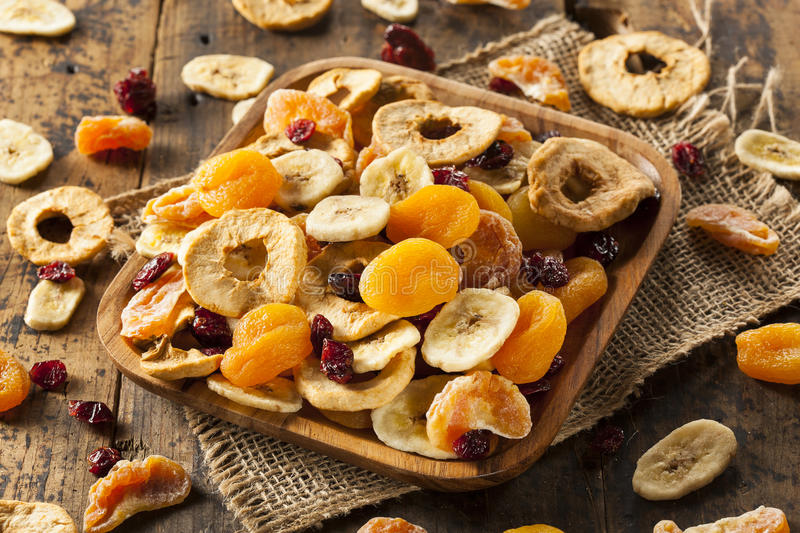 Organic Healthy Assorted Dried Fruit royalty free stock image
