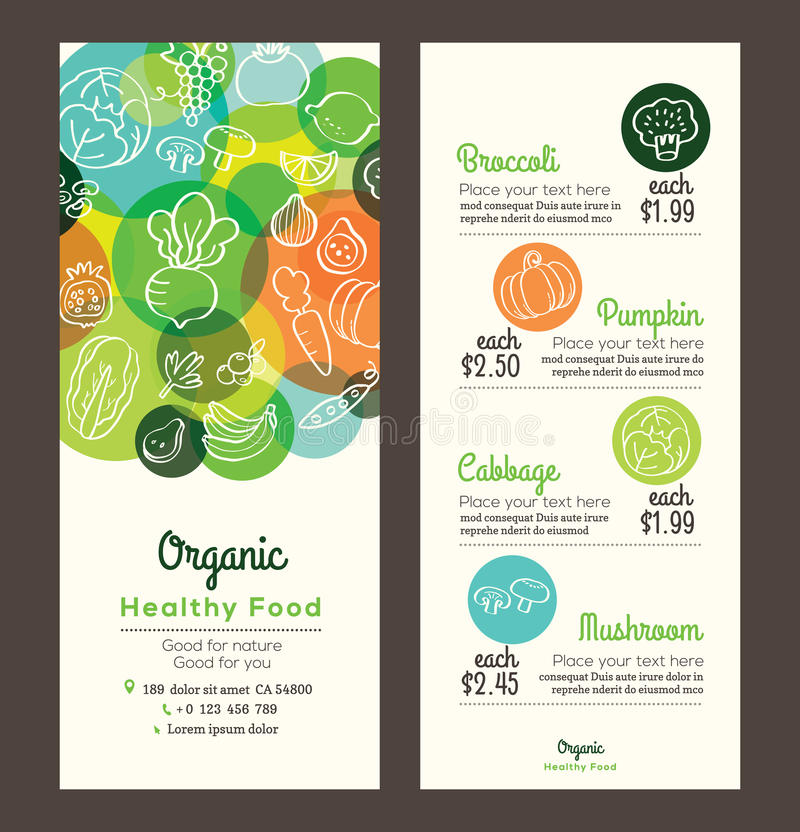Organic healthy food with fruits and vegetables menu flyer leaflet. Organic healthy food with fruits and vegetables doodles illustration design template for menu royalty free illustration