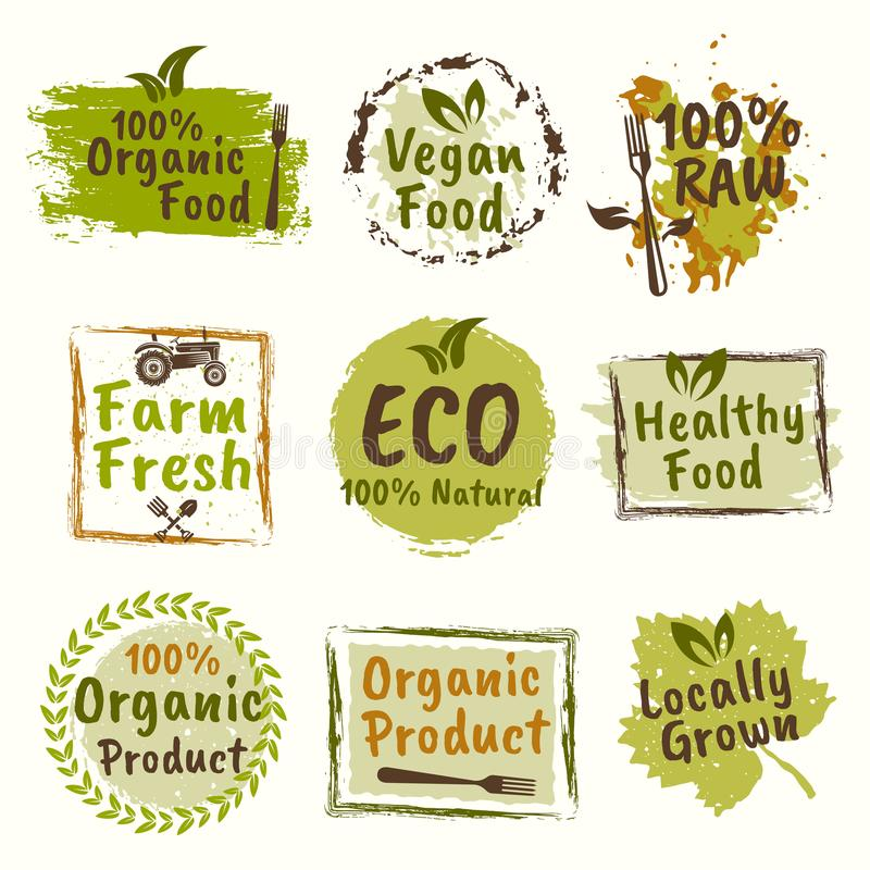 Vegan Elements Set Of Green Labels Logos And Signs In Retro Style