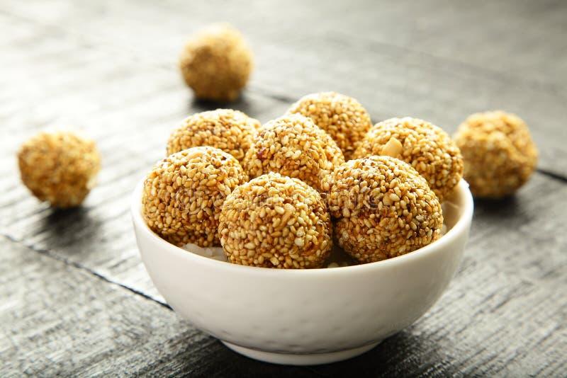 Vegan snack Sesame seed jaggery balls . royalty free stock photo