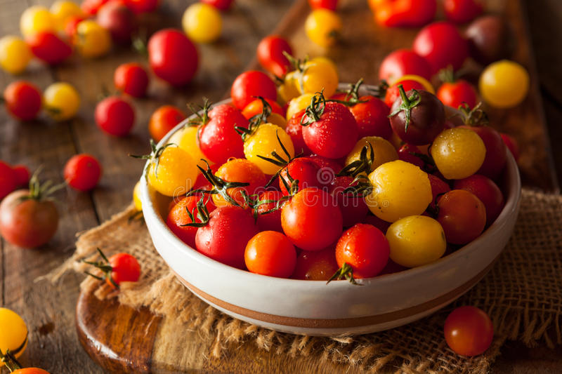 Organic Heirloom Cherry Tomatos royalty free stock photography
