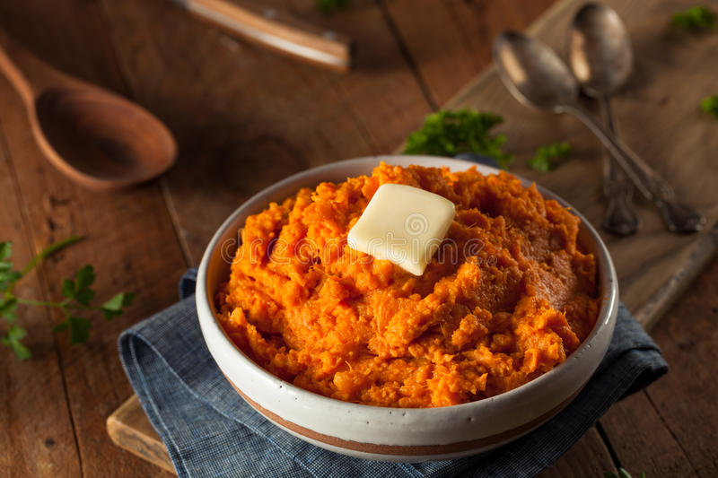 Organic Homemade Mashed Sweet Potatoes royalty free stock photography