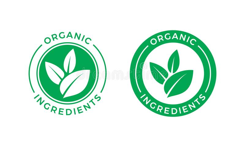 Organic ingredients green leaf vector label icon stock illustration