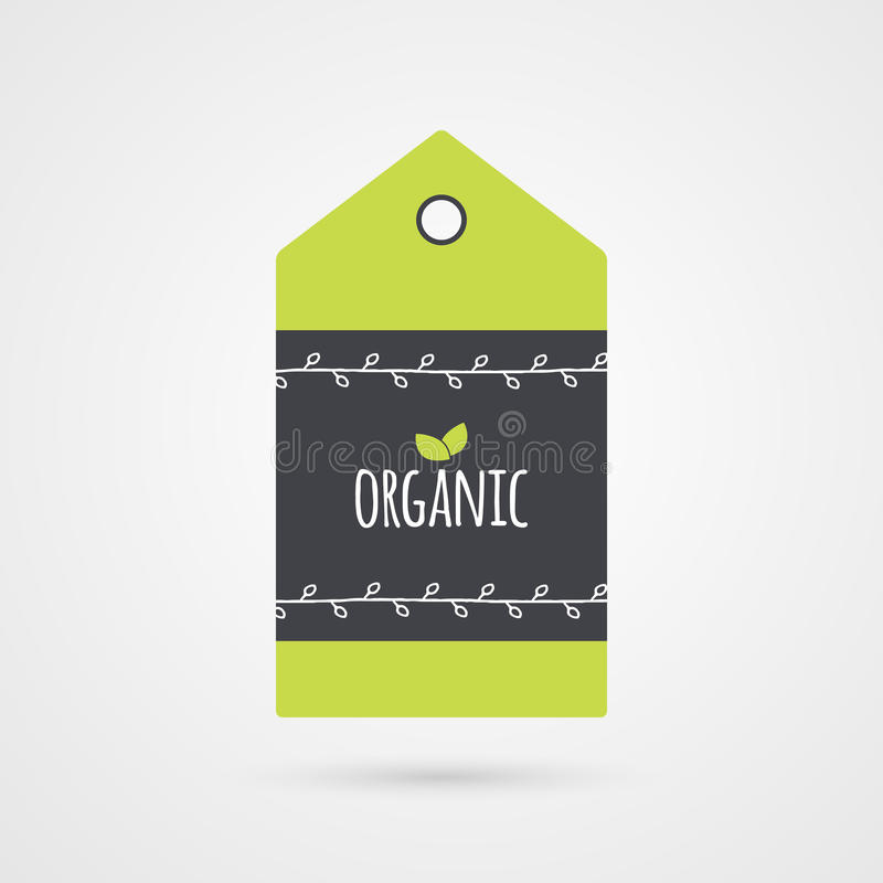 Organic label. Food icon. Shopping tag sign . Illustration symbol for product, packaging, healthy eating stock illustration