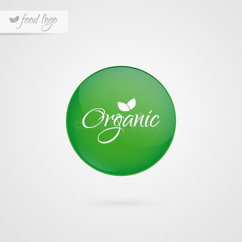 Organic label. Food logo icon. Vector sticker sign isolated. Illustration symbol for product, packaging, healthy eating, logo stock illustration