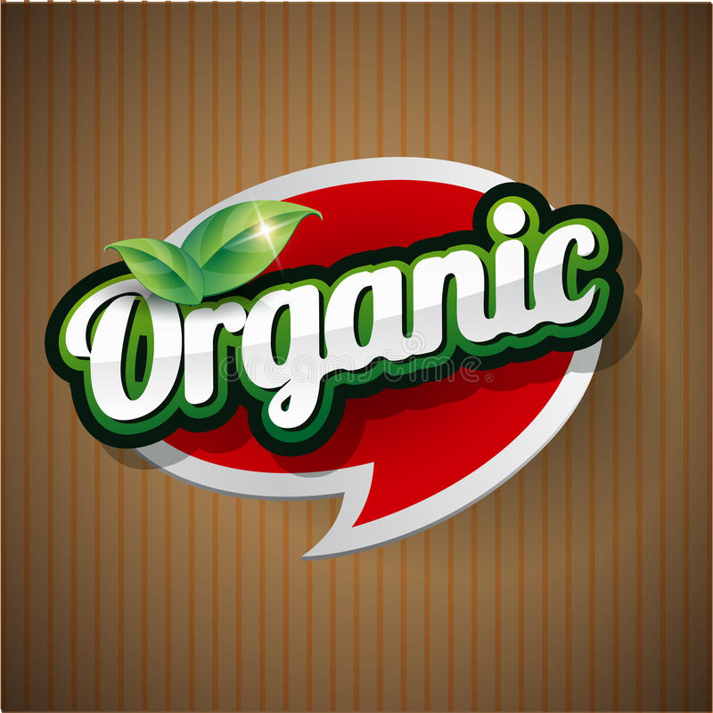Organic Label vector. Isolated with green leaves vector illustration