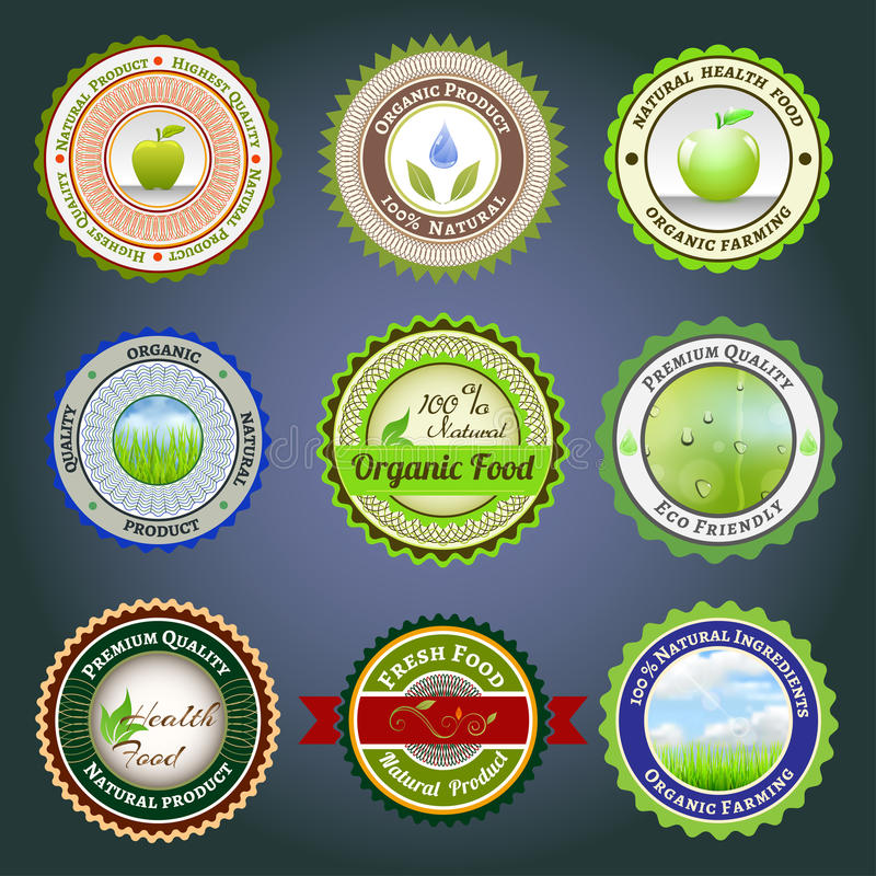 Organic labels, badges and stickers stock illustration