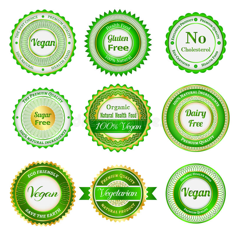 Organic labels, badges and stickers royalty free illustration