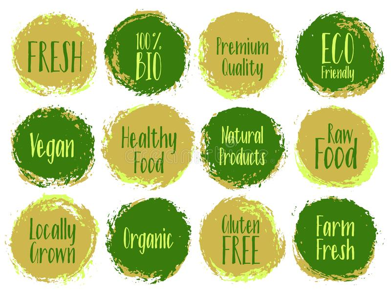 Organic labels, bio emblems for products packaging. Vector organic labels, bio emblems for restaurants menu, natural products packaging. Vegan, gluten free stock illustration