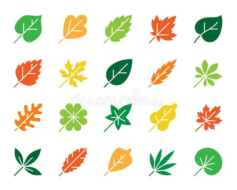 Organic Leaf color silhouette icons vector set royalty free illustration