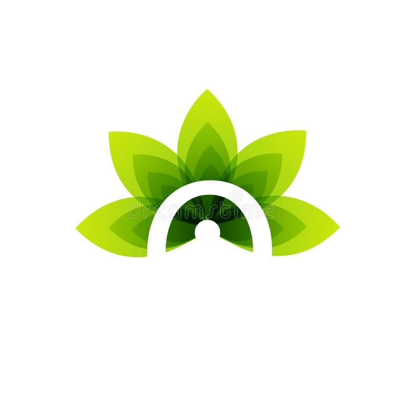 Organic leaf logo royalty free illustration