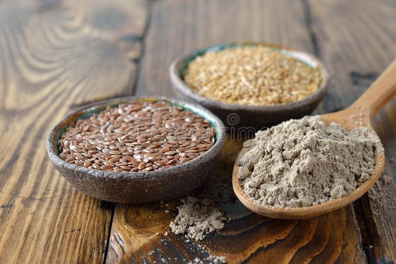 Organic linseed flour stock photography