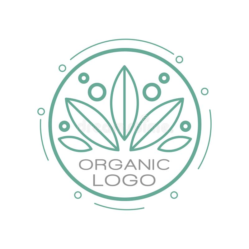 Organic logo, design element for organic healthy products, natural cosmetics, premium quality food and drinks, packaging. Vector Illustration isolated on a royalty free illustration