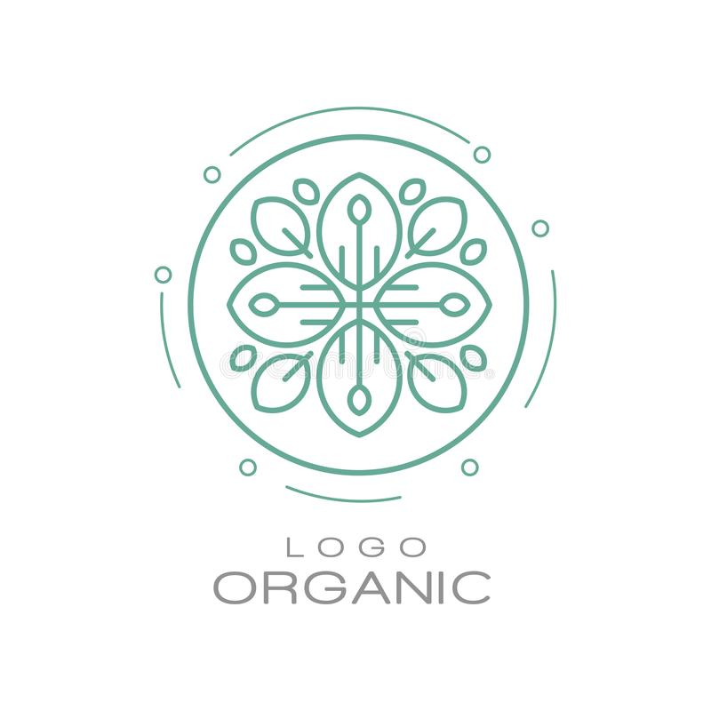 Organic logo, ecology sign for healthy products, natural cosmetics, premium quality food and drinks, packaging vector. Illustration isolated on a white vector illustration