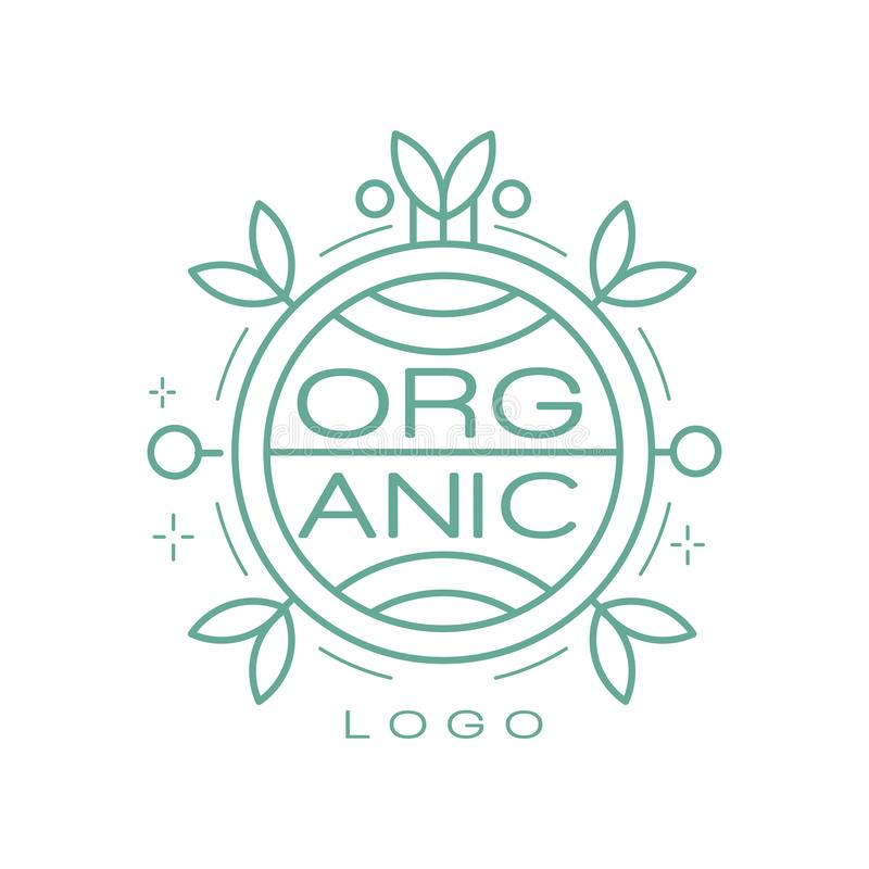 Organic logo, ecology sign for healthy products, natural cosmetics, premium quality food and drinks, packaging vector. Illustration isolated on a white royalty free illustration