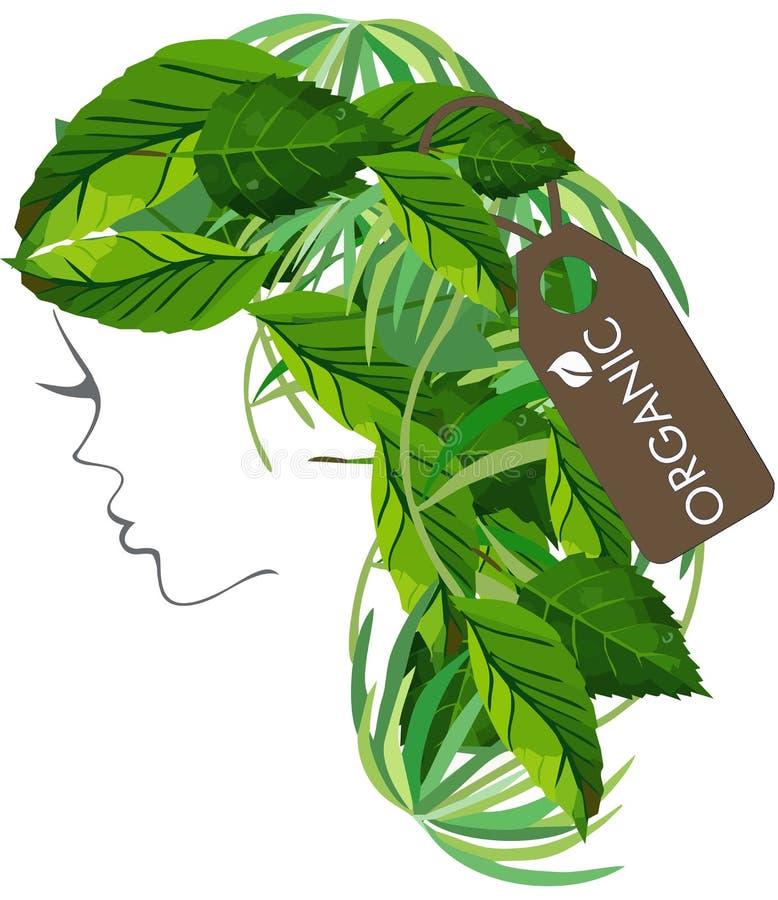 Organic Logo Hair salon logo. Woman with hair leaves with organig tag stock illustration