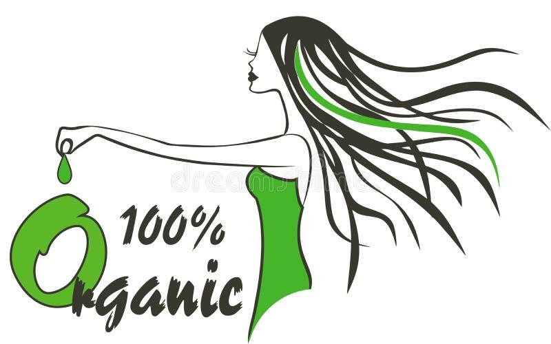 Organic Logo Hair salon logo. Woman with hair leaves with organig tag vector illustration