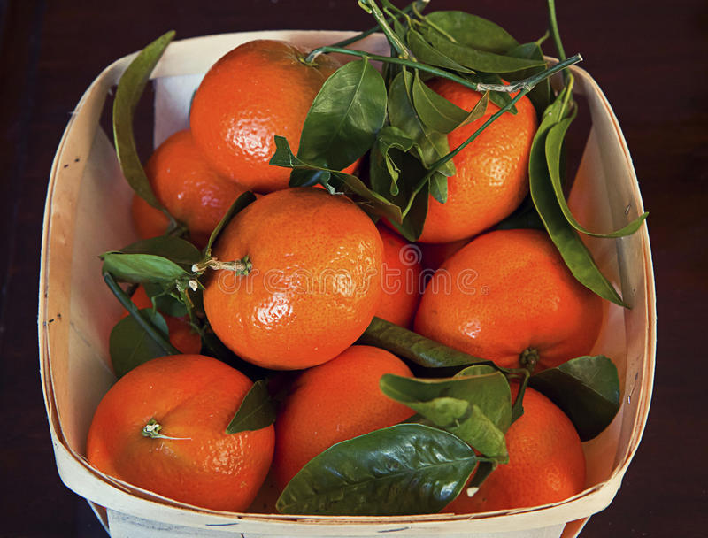 Organic mandarins with leaves in wooden basket stock photo