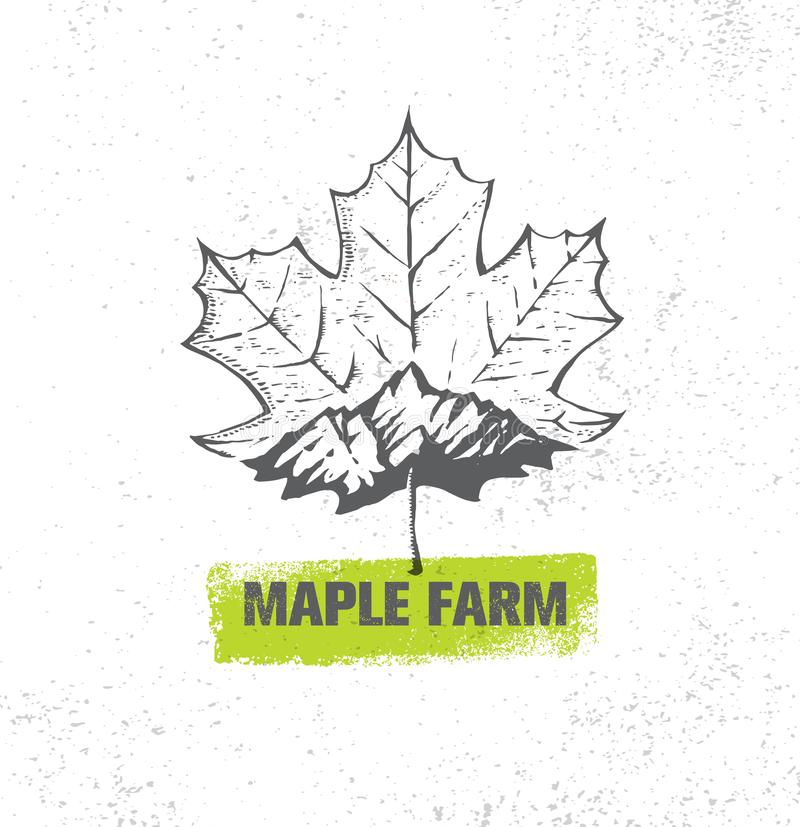 Organic Maple Syrup Producer Farm Creative Rough Vector Sign On Textured Paper Background.  vector illustration