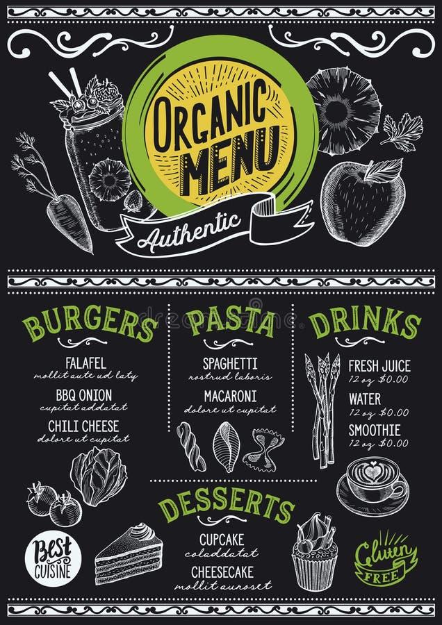 Organic menu restaurant, food template. Organic menu for restaurant and cafe. Design template with food hand-drawn graphic illustrations stock illustration
