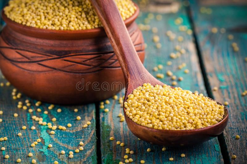 Organic millet seeds in a spoon and a ceramic bowl closeup royalty free stock image