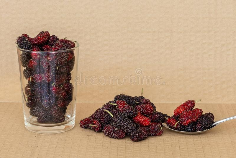 Organic Mulberry fruits in Stainless steel spoon. And many pile of Mulberry friut on brown cardboard background royalty free stock photo