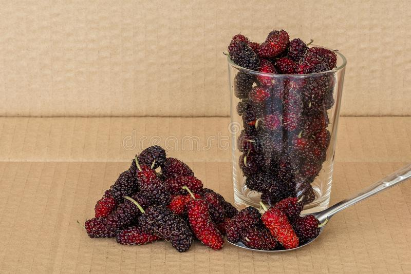 Organic Mulberry fruits in Stainless steel spoon. And many pile of Mulberry friut on brown cardboard background stock photos