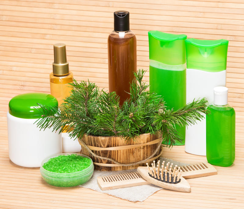 Organic and natural cosmetic products and accessories for hair care. Wooden basket filled with pine branches, sea salt, shampoo, conditioner, balm, mask, oil royalty free stock photography