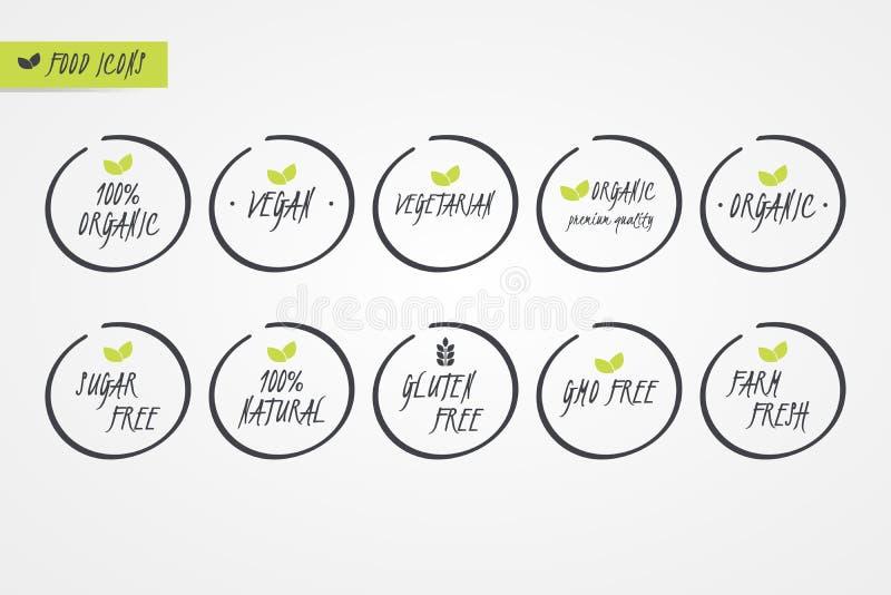 100% Organic Natural Gluten Sugar GMO Free Vegan Vegetarian Farm Fresh label. Food logo icons. Circle signs isolated. 100% Organic Natural Gluten Sugar GMO Free royalty free illustration