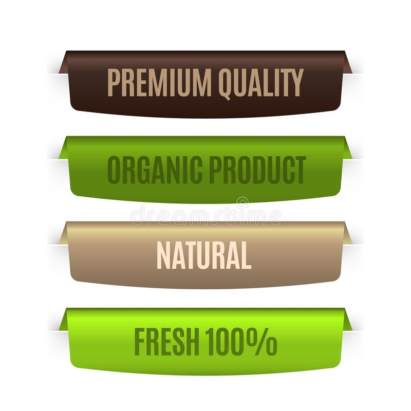 Organic natural labels. Eco banners template. Vector bio badges set for concept guarantee ecology product vector illustration