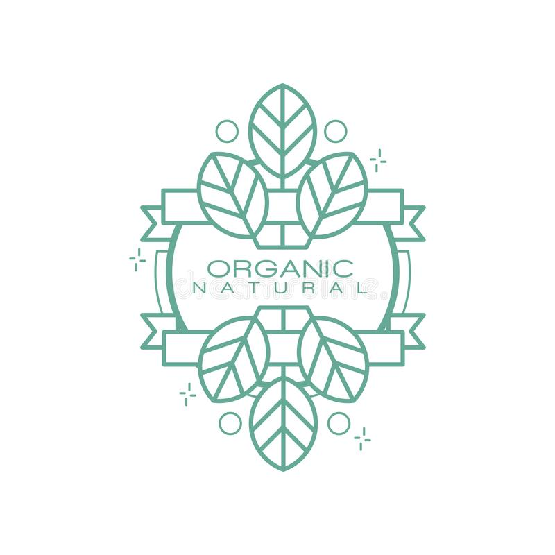 Organic natural logo, badge for eco healthy products, natural cosmetics, premium quality food and drinks, packaging. Vector Illustration isolated on a white vector illustration